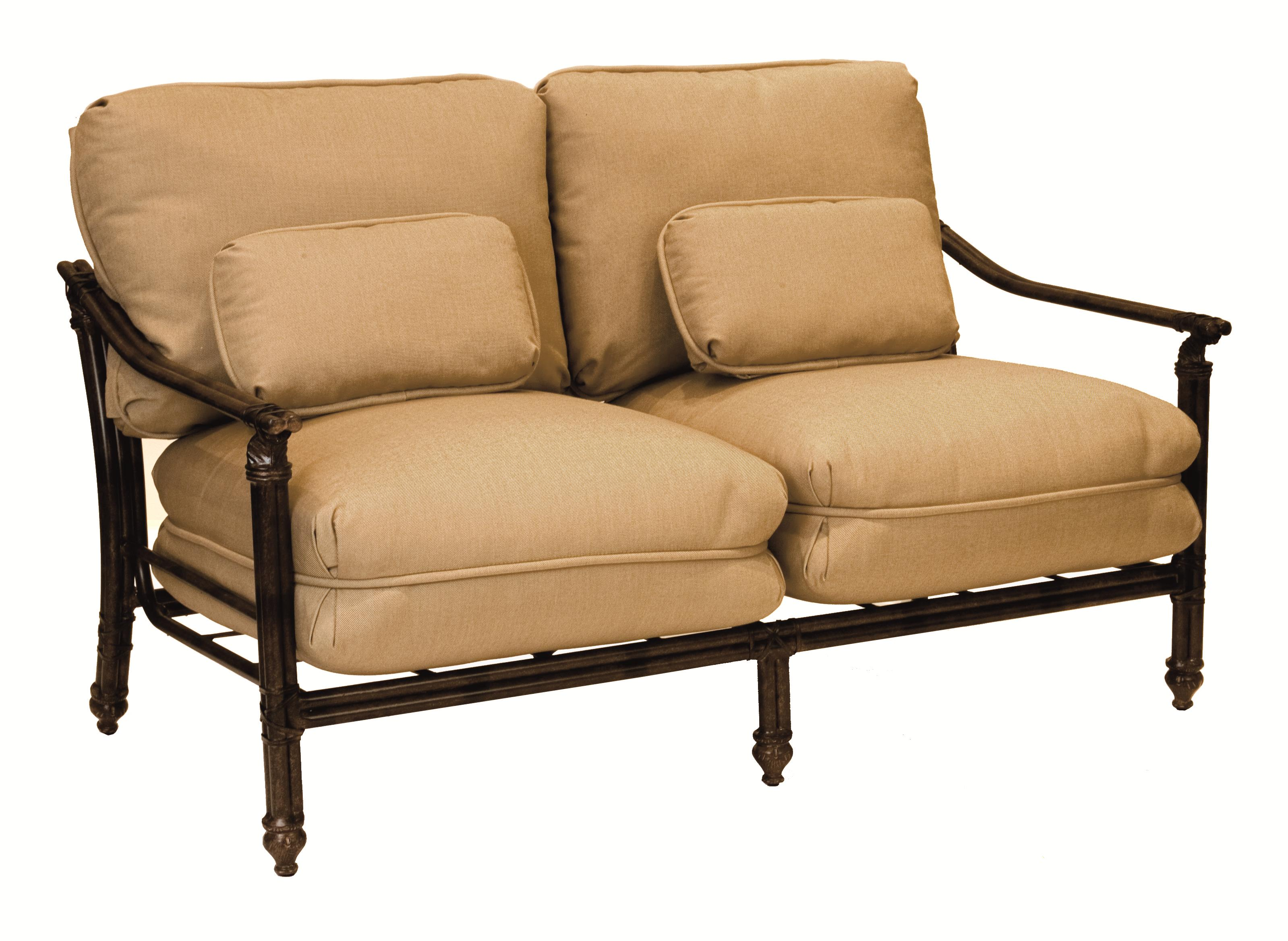 Coco Isle Cushioned Loveseat with Two Kidney Pillows by Castelle by Pride Family Brands at Michael Alan Furniture & Design