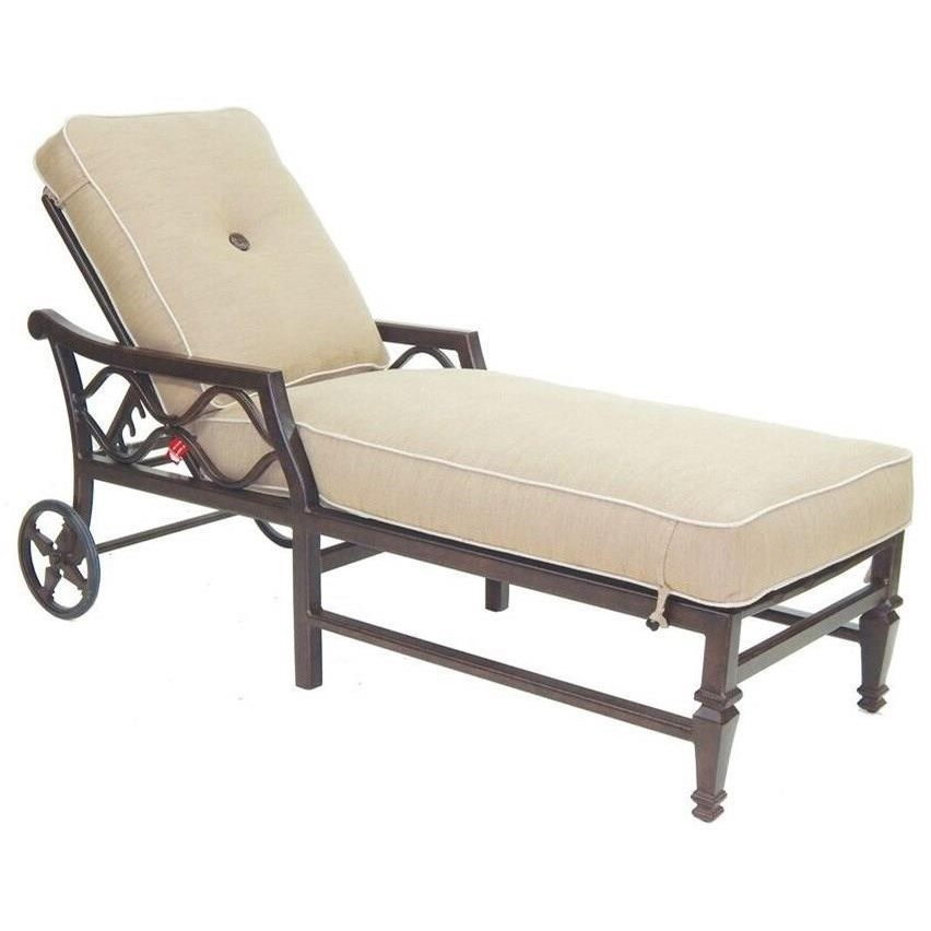 Villa Bianca Adjustable Cushioned Chaise Lounge w/ Wheels by Castelle by Pride Family Brands at Baer's Furniture
