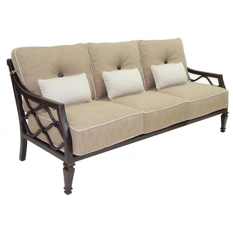 Villa Bianca Cushioned Sofa w/ Three Kidney Pillows by Castelle by Pride Family Brands at Baer's Furniture