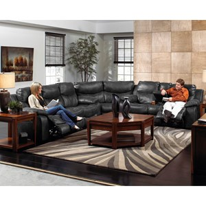 Casual Three Piece Reclining Sectional Sofa with Cupholder Storage Console