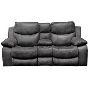 Casual Reclining Loveseat with Cupholder Storage Console