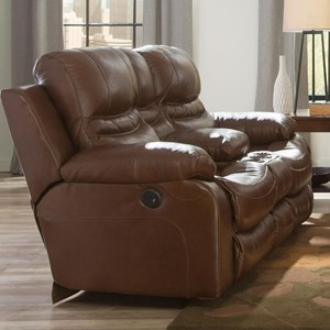 Power Lay Flat Reclining Loveseat with Storage Console and Cupholders