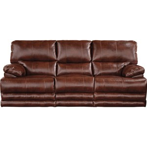Casual Power Lay Flat Reclining Sofa with Built-In Storage