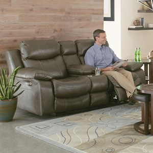 Casual Lay Flat Power Reclining Power Lumbar Console Loveseat with Cupholders and Power Headrest