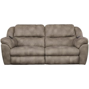 Casual Power Lay Flat Reclining Sofa with Power Headrest and Dual Heat & Massage