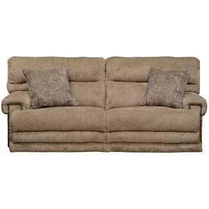 Power Headrest with Power Lumbar Lay Flat Reclining Sofa with Extended Leg Rest and USB Ports