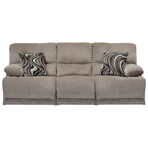Casual Reclining Sofa with Pillow Arms