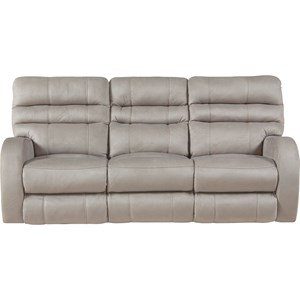 Contemporary Power Lay Flat Reclining Sofa with Power Headrest