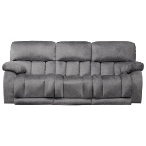 Casual Power Lay Flat Reclining Sofa with Power Headrests and Drop-Down Table