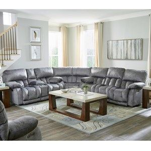 Casual 3 Piece Power Sectional with Power Headrests