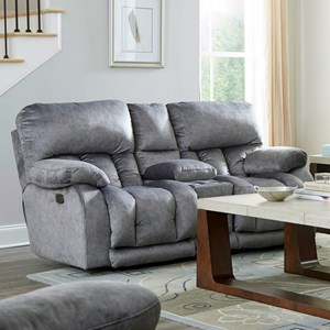 Casual Power Lay Flat Reclining Loveseat with Power Headrests and Lumbar Support