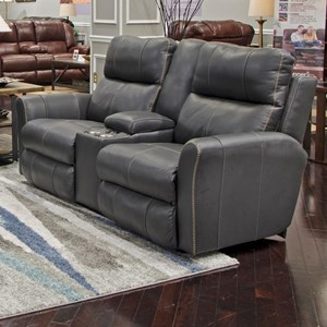 Voice-Controlled Power Lay Flat Console Loveseat with Headrest and Lumbar Support