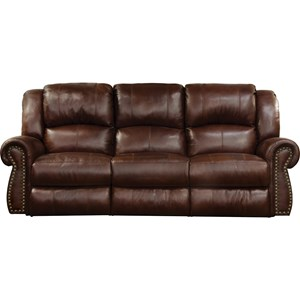 Traditional Power Lay Flat Reclining Sofa with Power Headrest and Lumbar