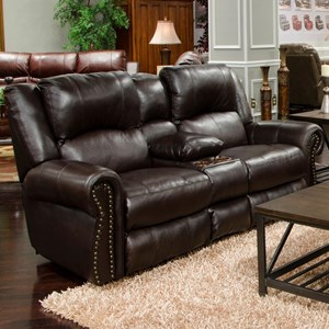 Traditional Power Reclining Lay Flat Loveseat with Power Headrest