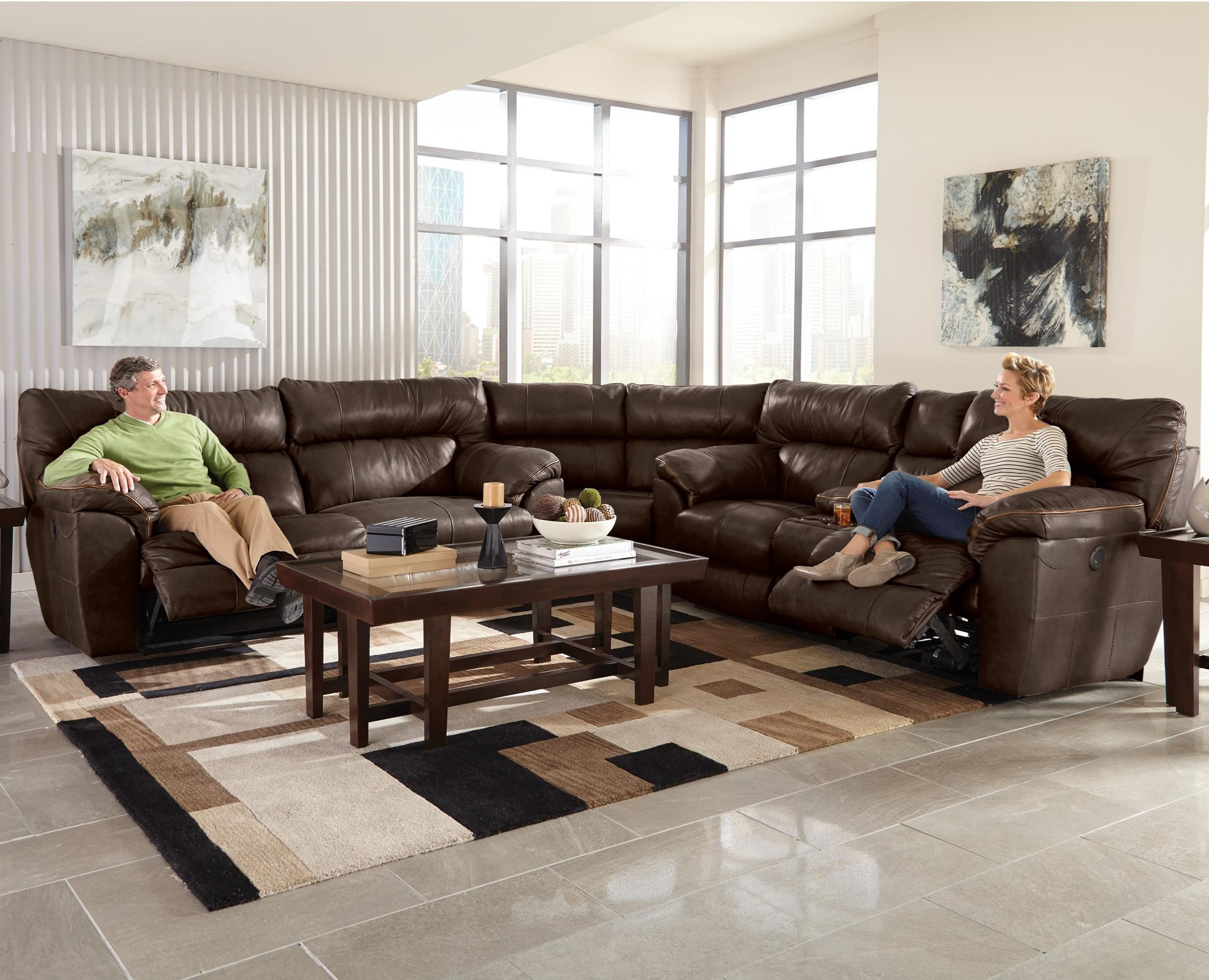 Milan 3 Pc Power Reclining Sectional Sofa by Catnapper at Northeast Factory Direct