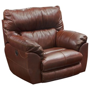 Casual Power Leather Lay Flat Recliner with USB Charging Port