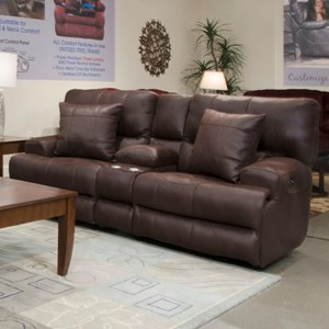 Lay-Flat Reclining Loveseat with Console