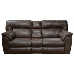 Casual Extra Wide Power Reclining Console Loveseat with Storage and Cupholders