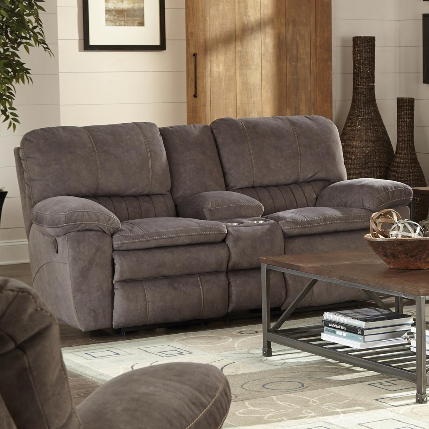 Reyes Power Lay Flat Reclining Console Loveseat by Catnapper at Northeast Factory Direct