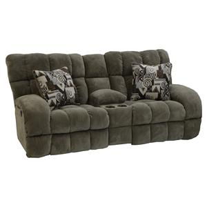Catnapper Siesta  Power Lay Flat Reclining Console Loveseat