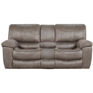 Casual Reclining Console Loveseat with Storage & Cupholders