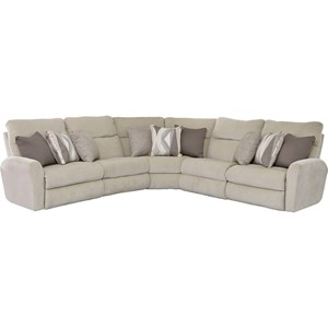 Power Reclining L-Shaped Sectional with Channel Back