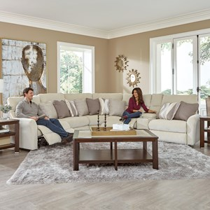 Power Lay Flat Reclining Sectional with Storage Console