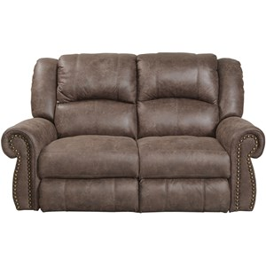 Rocking Reclining Loveseat with Nailhead Trim