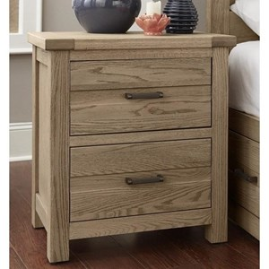 Transitional Solid Wood 2-Drawer Nightstand