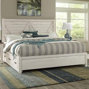 Transitional Solid Wood Queen Low Profile Storage Bed with 6 Side Drawers