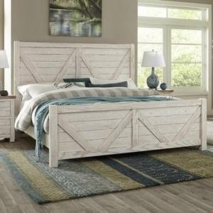 Transitional Solid Wood King V-Panel Bed