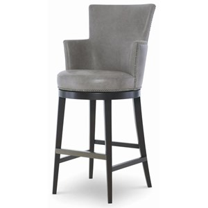 Leather Swivel Bar Stool with Nickel Nailheads