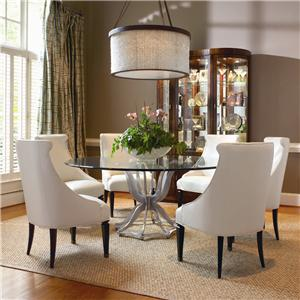 Century Omni Metal Dining Table and Upholstered Chair Set