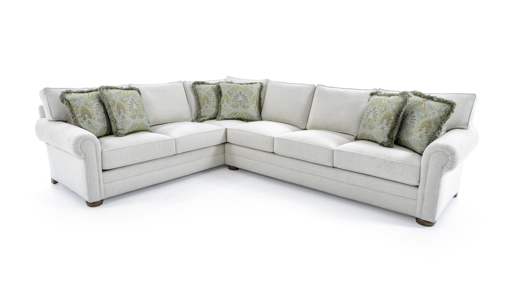Customizable Sectional Sofa with Lawson Arms and Bun Feet