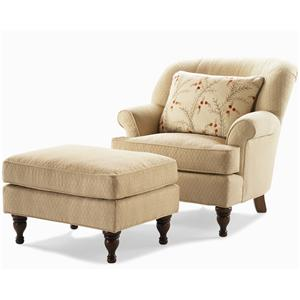 Century Elegance  Upholstered Chair & Ottoman