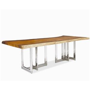 Century Milan Solid Wood Slab Top w/Stainless Steel Base
