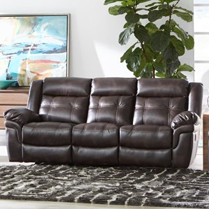 Casual Reclining Sofa with Contrast Stitching