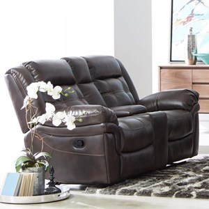 Casual Reclining Loveseat with Contrast Stitching and Cupholder Storage Console