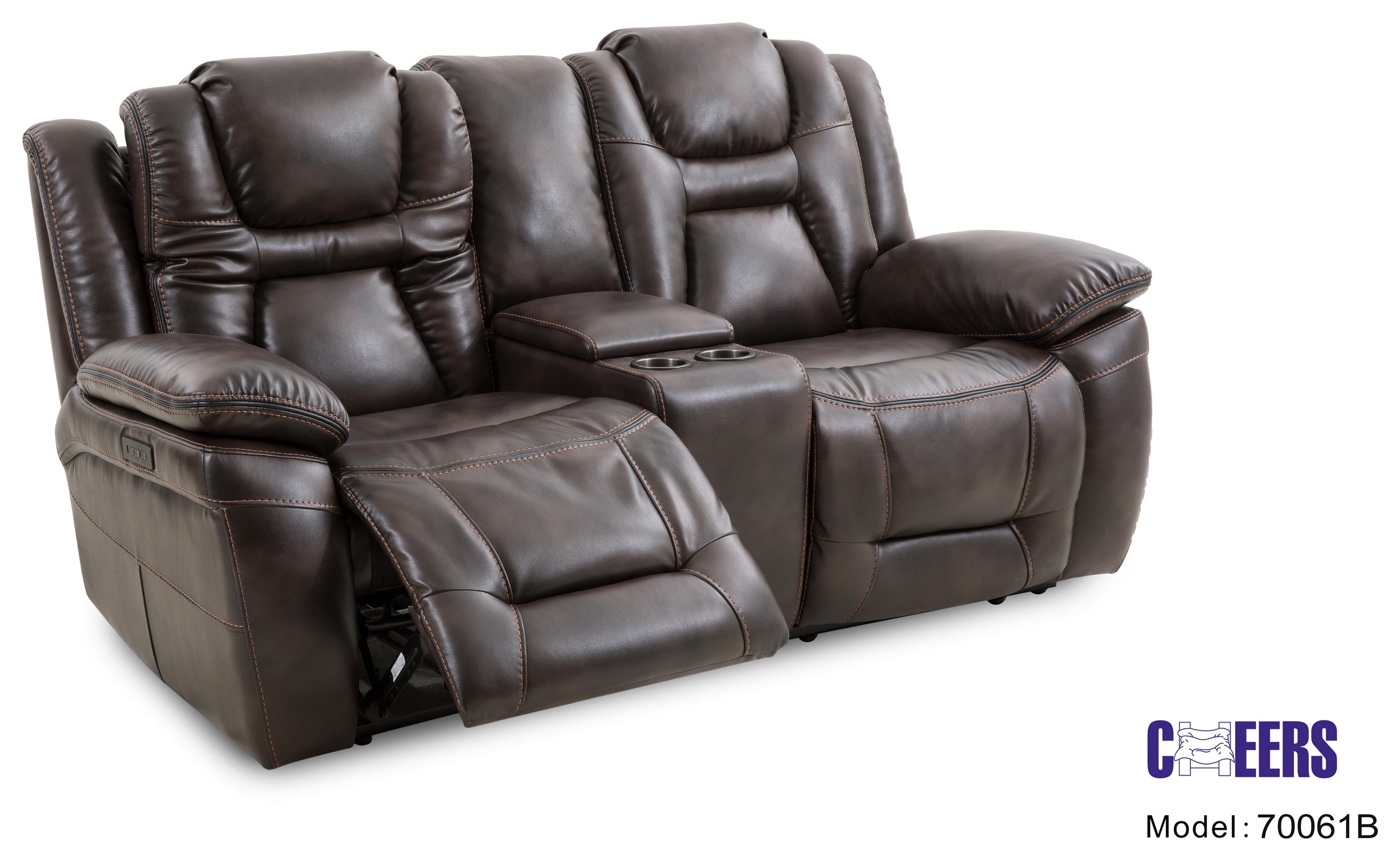 70061 Dual Power Reclining Console Loveseat by Cheers at Furniture Fair - North Carolina