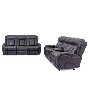 Power Headrest Sofa with Drop Down Table and Lights and Power Reclining Loveseat with Console and Lights Set