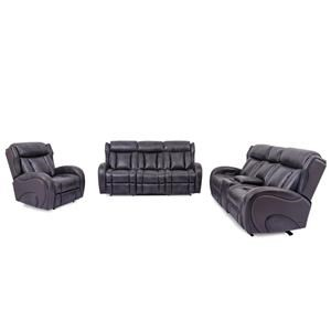 Power Headrest Sofa with Dropdown Table and Lights, Power Reclining Loveseat with Console and Lights and Power Recliner with Lights
