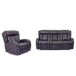 Power Headrest Sofa with Drop Down Table and Light and Power Recliner With Lights Set