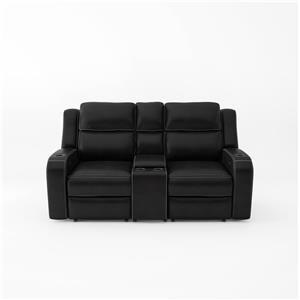 Power Headrest Loveseat with Console and Lights