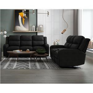 Power Headrest Sofa with Drop Table and Lights and Power Headrest Loveseat with Console and Lights Set