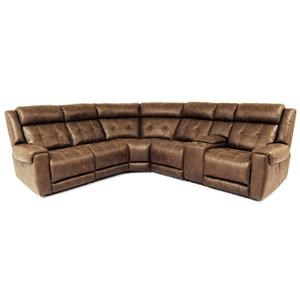 Contemporary 6-Piece Power Reclining Sectional with Power Headrests and USB Ports