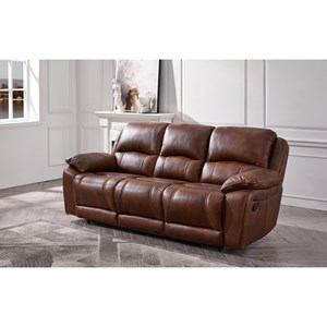 Leather Power Head and Footrest Reclining Sofa