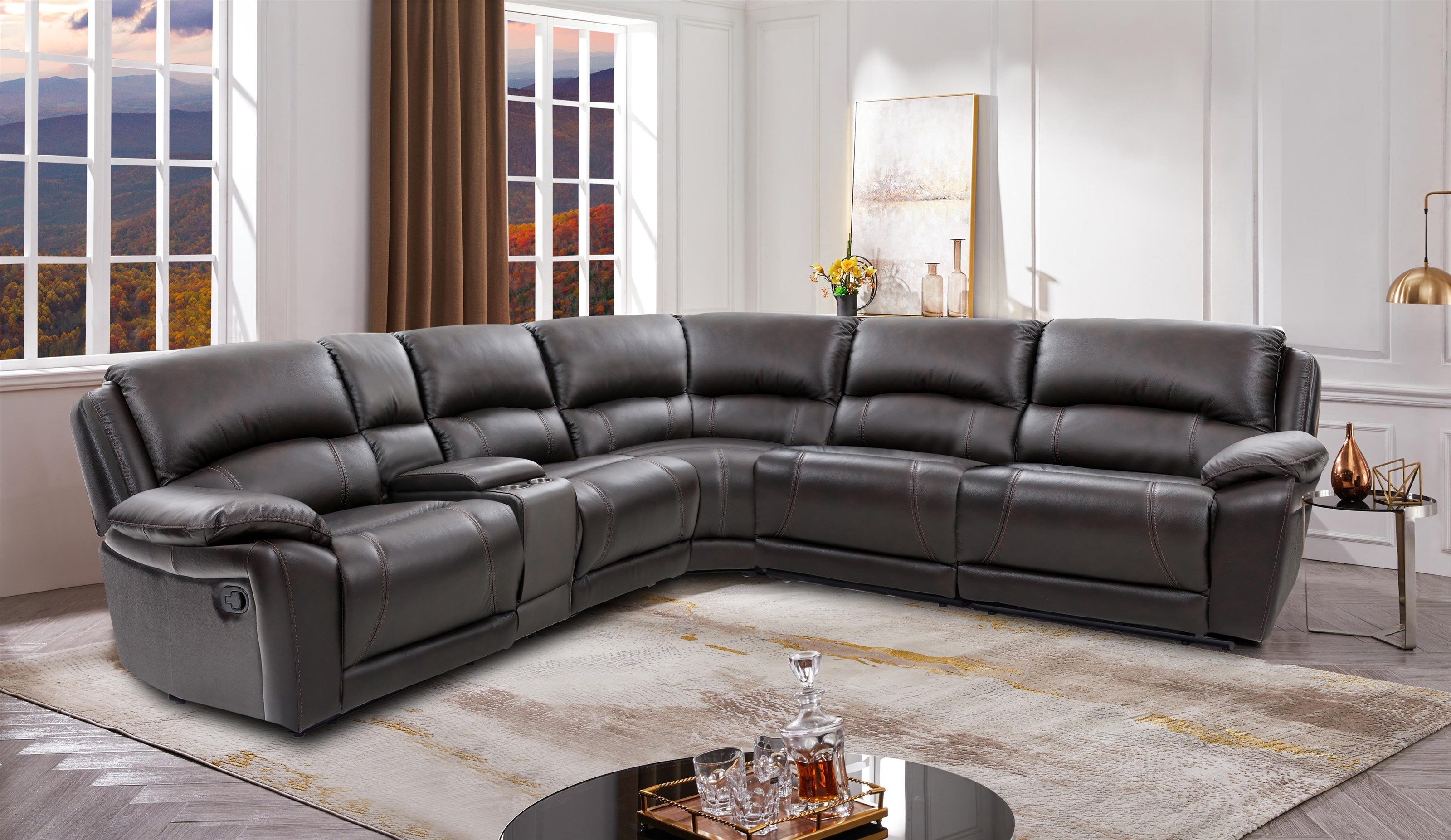 8532 Leather 6 Piece Sectional by Cheers at Westrich Furniture & Appliances