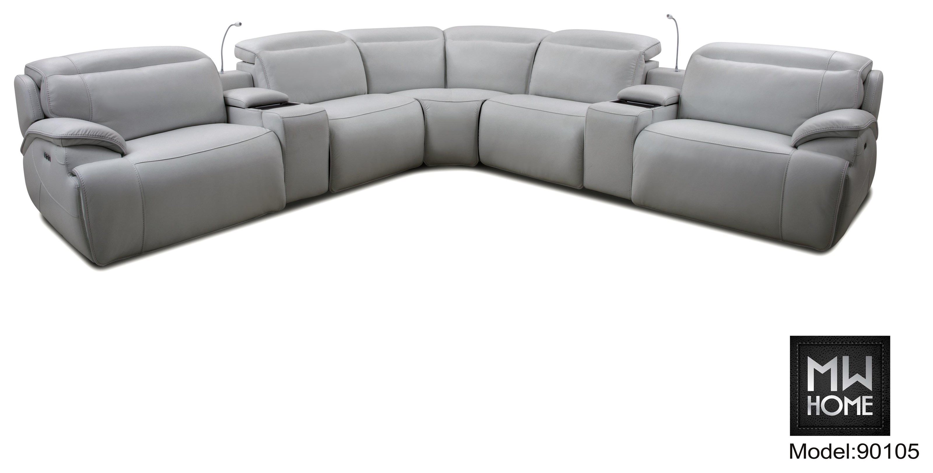 9010 7 Piece Leather Match Power Sectional by Cheers at Darvin Furniture