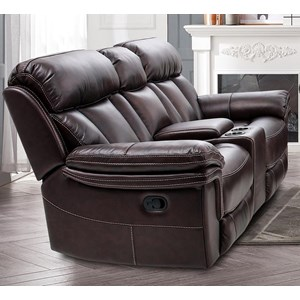 Contemporary Power Reclining Console Loveseat with Cupholders