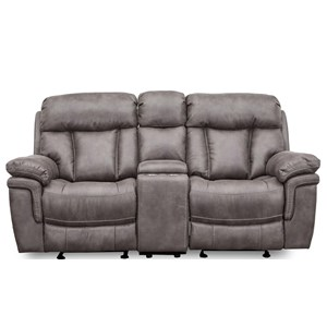 Contemporay Wallhugger Glider Console Reclining Loveseat with Cupholders